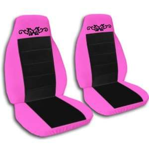 2 hot pink and black car seat covers, with a butterfly tattoo