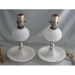 Set of 2   Vintage Hobnail Milk Glass Electric Table Lamp Lights   10