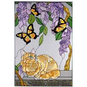 Orange Persian Cat & Monarch Butterfly Painted Art Glass