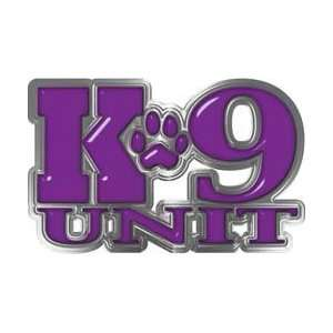 Reflective K9 Unit with Dog Paw Law Enforcement Decal in Purple   7.5