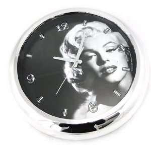Wall clock Marilyn Monroe black white.