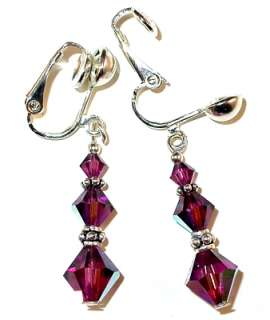 SWAROVSKI CRYSTAL ELEMENTS Bali Sterling Silver Earrings AMETHYST