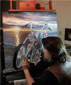 MOTORCYCLE ART Easy Rider Harley Davidson CAPTAIN AMERICA Chopper