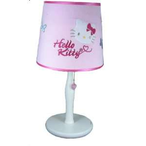 Childrens Pink & White Hello Kitty Wood Table Lamp