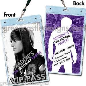 Justin Bieber Birthday Party Invitations Favors VIP