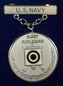 US Navy Rifle EIC Excellence In Competition Badge Medal, Silver, Fleet