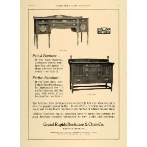 Grand Rapids Bookcase & Chair   Original Print Ad Home & Kitchen