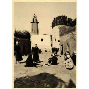 1929 Kharga Oasis Egypt Village Street People Men Cow