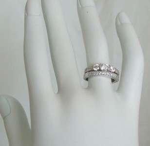 Antique Style 3 Stone CZ Engagement Wedding Ring Set 5,6,7,8,9