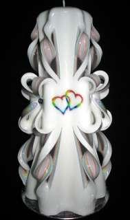 RAINBOW HEARTS Wedding Unity Candles Set   PERSONALIZED