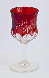 Antique Ruby Flash Goblet Cordial Dallas 1902 Dainty