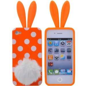 White Spots Pattern Rabbit Rubber TPU Case Cover for iPhone 4(Orange)
