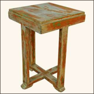 Appalachian Rustic Hand Painted Distressed Old Wood End Table