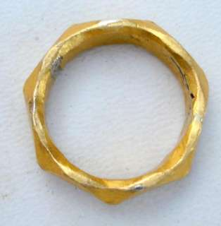 ANTIQUE TRIBAL OLD SILVER GOLD GILDED RING GYPSY