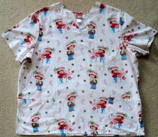 STRAWBERRY SHORTCAKES SCRUB NURSES UNIFORMS TOP CHRISTMAS PRINT SZ 2XL
