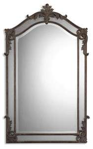 FRENCH Ornate Arched WALL MIRROR Black Horchow Beveled 48H Tuscan NEW