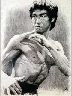 Bruce Lee Sketch Portrait Charcoal Pencil Drawing
