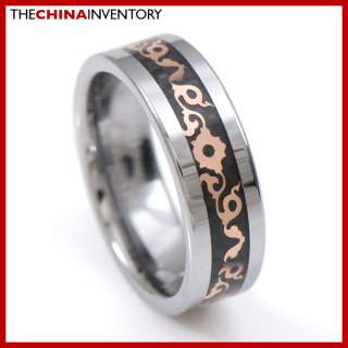 8MM SIZE 12 MENS TUNGSTEN CARBIDE RING WITH CARBON FIBER R4103