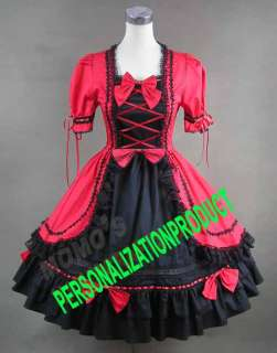 Sweet gothic lolita cute bows black lace red Cosplay Knee Length dress