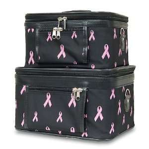 Travel Train Case   Cosmetic   Toiletry   2 Pc. Set, Breast Cancer