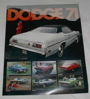 NOS OEM 1971 Dodge New Car Sales Brochure Demon Plum Crazy Challenger