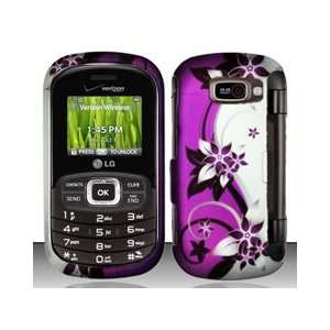 LG Octane VN530 Purple/Silver Vines Flower Design Snap On Hard Case
