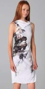 Lang Carrion Print Sleeveless Cowl Neck Panel Asymmetrical Dress $520