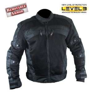 Xelement Mens Black Tri Tex Fabric Level 3 Armored Motorcycle Jacket
