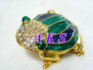 Craft Frog Crystal Enamel Jewelry Trinket Box AA54
