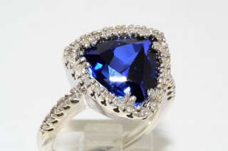 16CT TRILLION CUT SAPPHIRE & DIAMOND RING SIZE 7