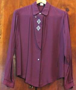 BEAUTIFUL WESTERN SHOW RAIL MAROON EMBROIDERED LADIES SHIRT EVENING