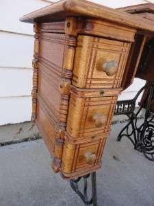 Antique Singer Oak Treadle Sewing Machine Cabinet
