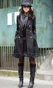 womens chic casual long trench coat Outerwear Autumn Winter Jacket 3CL