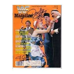 Cyndi Lauper & Rowdy Piper autographed Magazine (Wrestling)