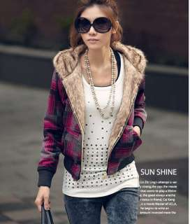 Womens Checks Thicken Warm Plush Waist length Hooded Zip Jacket