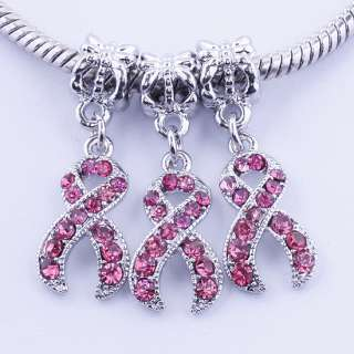 Pink Crystal Ribbon Pendant Bead Breast Cancer Awareness Fit Bracelets