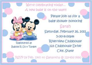 Disney Baby Shower Invitations Mickey Minnie Mouse