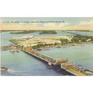 Vintage Postcard   MacArthur Causeway connecting Miami and Miami Beach