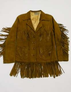 70s PIONEER WEAR Deer Skin HIPPIE Whip Stitch FRINGE Coat Jacket 38 K2