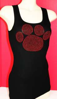RHINESTONE RED PAW TANK TOP NEW MADE IN USA