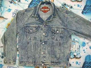 vtg Harley Davidson BLUE DENIM JACKET M MED biker 80s jean trucker