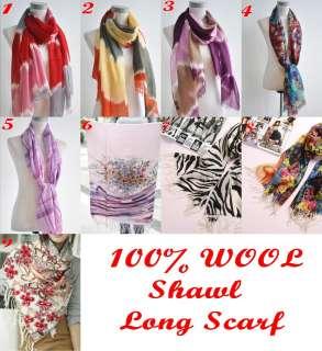 Brand TOP GRADE YLSH 100% WOOL Ultra Soft Fashion Printed Long Scarf