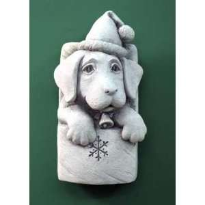 Made   Cast Stone Christmas Holiday Puppy Dog   Santa Hat, Bell Collar
