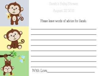 24 Sweet Little Monkey Baby Shower Advice Cards