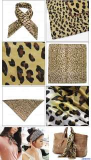 Elegant Lady Womens Leopard Print Square Scarf Shawl