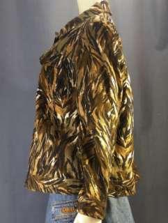Carole Little Woman Linen Tiger Stripe Plus Jacket 2X   Black Brown