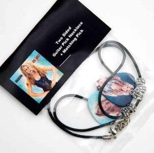 Shakira Guitar Pick Black Leather Necklace + Pick