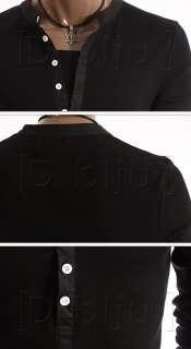 New Mens Lined Henley Black Button Shirt Slim sz S M L