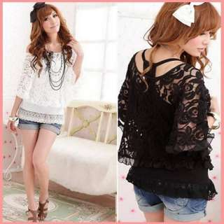 Womens Sheer 2 Pieces Lace Off Shoulder T shirt Twinset Camisole