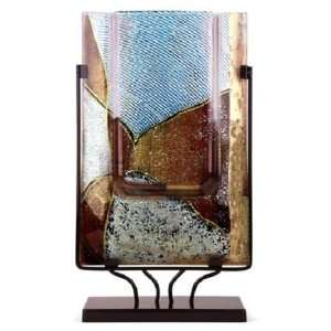 White and Gold Leaf 18 Inch Abstract Rectangle Vase with Metal Stand